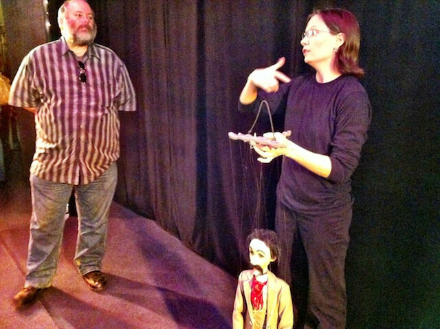 Here's Rose, one of the puppeteers, teaching us how to properly hold a marionette